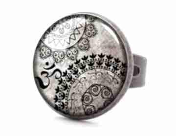 Mantra pierścionek regulowany mandala orientalny prezent ręcznie