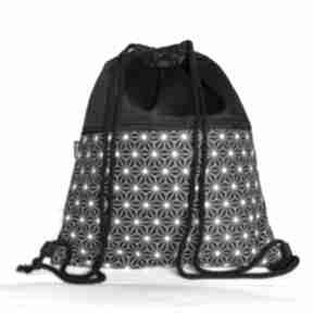 Czarno-biały geometryczny gawka worek, plecak,