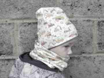 Koparki żółta czapka i komin dla chłopca na jesień zimę