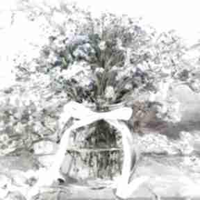 Obrazy kwiaty na płótnie niezapominajki w słoju 60 x cm renata