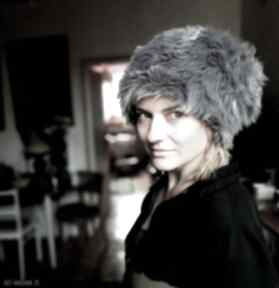 Ruda Klara? czapka futrzana damska szara handmade uszyta