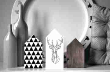 3 domki z jeleniem dekoracje wooden love dom, domki, domek