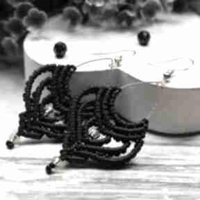 Czarne, wiszące kolczyki boho, makrama kameleon czarne kolczyki