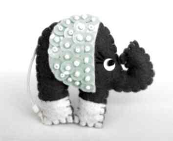 Cekinowy słoń broszka z filcu broszki tinyart filc, słoń