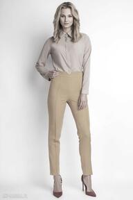 Spodnie z wysokim stanem, sd112 musztarda lanti urban fashion