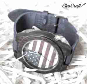 zegarkidrewniany hebanowy amerykański zegarek flaga