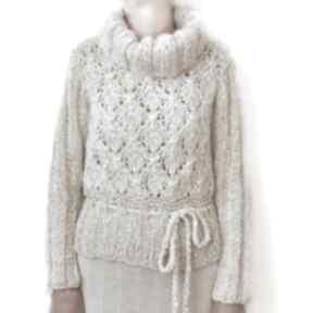 Golf - sweter ażurowy ręcznie robiony swetry aleksandrab sweter
