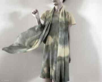 Szal lniany yellow&gray szaliki anna damzyn szal, lniany, ręcznie barwiony, unikatowy, szalik,