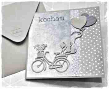 Kartka na walentynki z rowerem scrapbooking kartki wrzosowisko