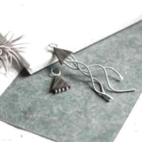 Drevnianakolczyki asymetryczne-kolczyki recyklingowa-biżuteria
