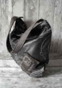 Torebka hobo - haftowana ekoskóra na ramię happyart torba, hobo
