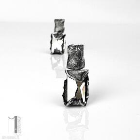 Cubic - srebrne kolczyki swarovski miechunka srebrne, sztyfty