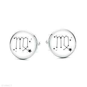 Spinki do mankietów z grafiką znak zodiaku panna laluv gwiazdy