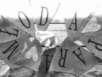 "Baner ""młoda para"" ślub maju hand made ślub, baner, vintage,"