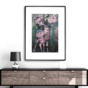 Grafika w ramie jeleń art 30x40 renata bulkszas jeleń, zwierzęta