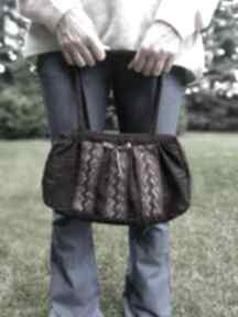 Torebka damska retro koronka brązowa na ramię ruda klara torebka