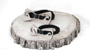 dodatki TimoSimo - Zestaw drewnianych muszek Tata-Syn wąsy