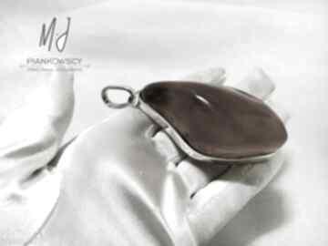 Wisior srebrny 925 z bursztynem bałtyckim unikat rękodzieło