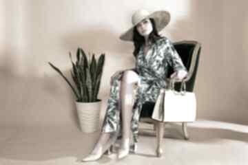 Elegancka sukienka maxi palmy dzianina premium sukienki zaqanna