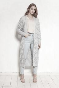 Ażurowy płaszcz - swe145 szary swetry lanti urban fashion