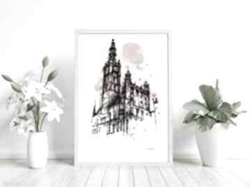 Ratusz głównego miasta gdańsk plakat grafika kolor studio