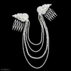 Ślubna ozdoba do włosów reniro ivory soutache ślub kavrila