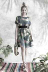 sukienki Sukienka turkusowa w kwiaty
