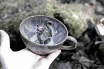 Filiżanka z kotem - opal -rękodzieło 280 ml ceramika azulhorse