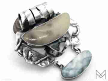 Wisior z bursztynem bałtyckim i larimarem srebro wisiorki