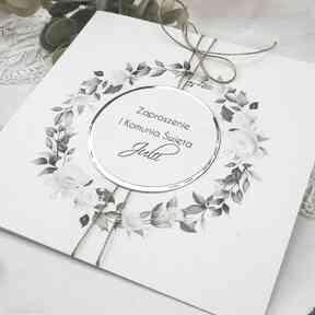 Zaproszenia na komunię, chrzest - kwiaty3 zaproszenie biala