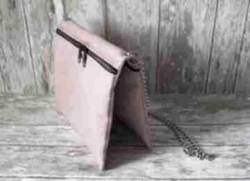 Czerwona torebka z alcantary happyart torebka, łańcuszek