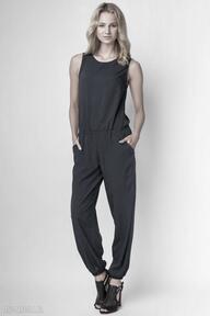 Zwiewny kombinezon, kb101 granat spodnie lanti urban fashion