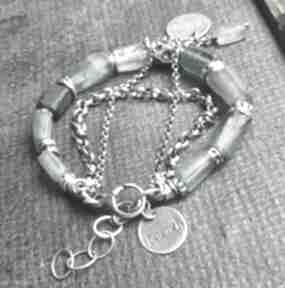 Bransoletka srebrna ze szkłem antycznym treendy szkło antyczne