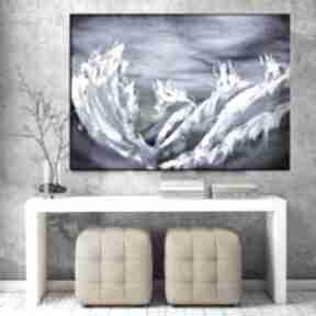 Sztorm - obraz do salonu ręcznie malowany abstrakcyjny prezent