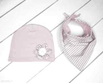 Cienki komplet dla dziewczynki czapka komin chusta dziewczynka