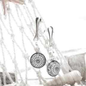 Srebrne klipsy wiszące z mozaikową zawieszką silvella srebro