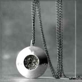 Srebrny duży wisior z pirytem, wisiorek minerałem wisiorki