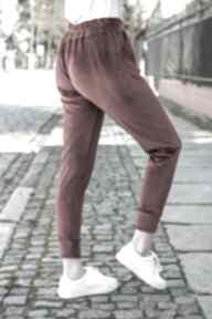 Spodnie welurowe dresowe do bluzy welurowej kolor bordo lona