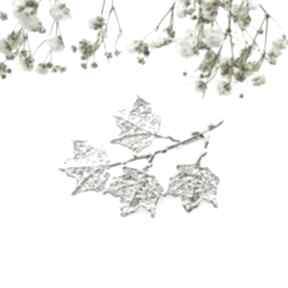 Broszka srebrna - klonowa gałązka biała broszki venus galeria
