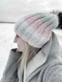 Ciepła pastelowa czapka czapki the wool art czapka, na drutach