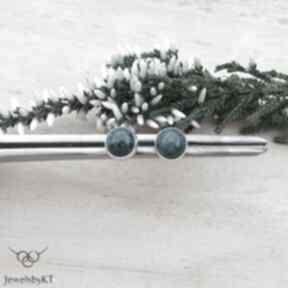 Kropki z kuprytem - kolczyki jewelsbykt srebrne, srebrne wkrętki