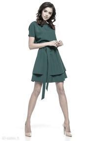 Sukienka z podwójną spódnicą, t268, zielona sukienki tessita