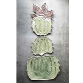 Kwitnący kaktus, oryginalna dekoracja ścienna ceramika badura