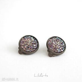 Klipsy - druzy burgund małe, antyczny brąz liliarts klipsy