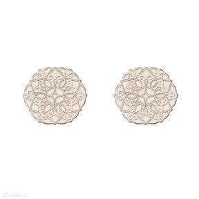 Kolczyki ażurowe rozetki różowego złota różowezłoto blogerskie