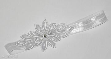 Opaska kwiatuszkami dla dziewczynki opaski chrzest prezent