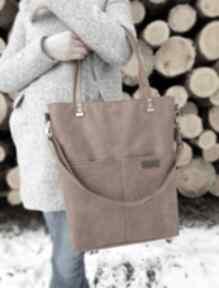 Duża torba rudy brąz na ramię musslico torba, shoperka, torebka