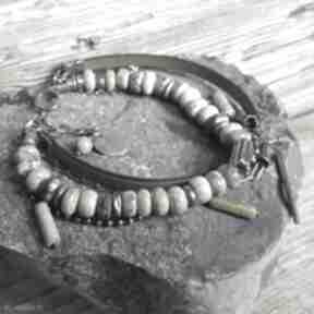 Bransoletka srebrna z chryzoprazem i rzemieniem treendy srebro