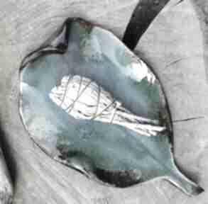 Ceramiczny talerz, liść c282 ceramika shiraja liść, patera