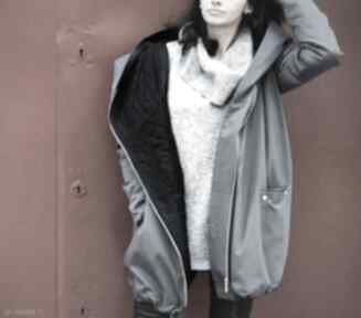 Szary płaszcz oversize ogromny kaptur na jesień rozmiar xs